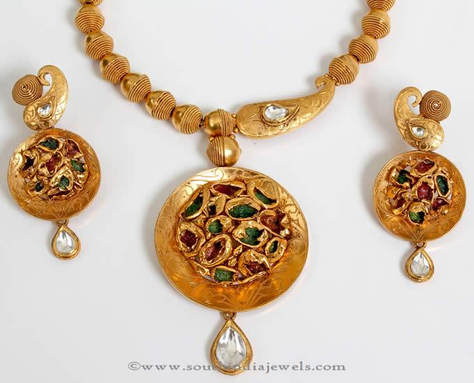 Gold Polki Short Necklace from PNG Adgil Jewellers