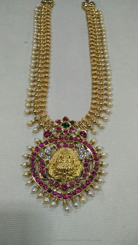 Gold Temple necklace with Ruby Pendant