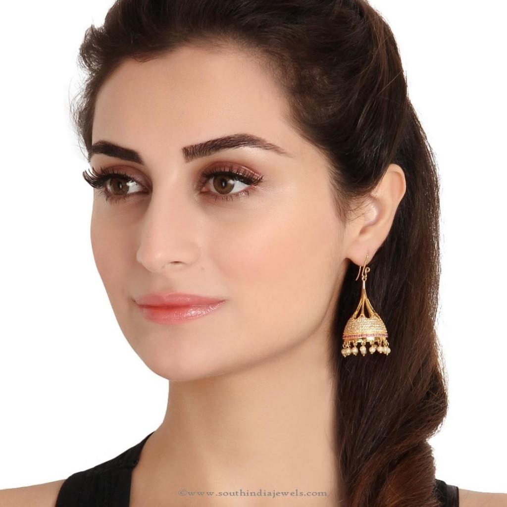 One gram gold hoop jhumka earrings