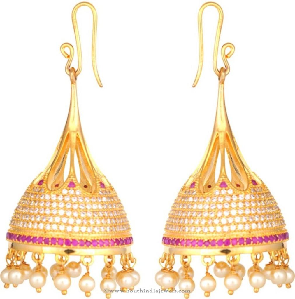 One Gram Gold Hoop Jhumka Earrings Earrings