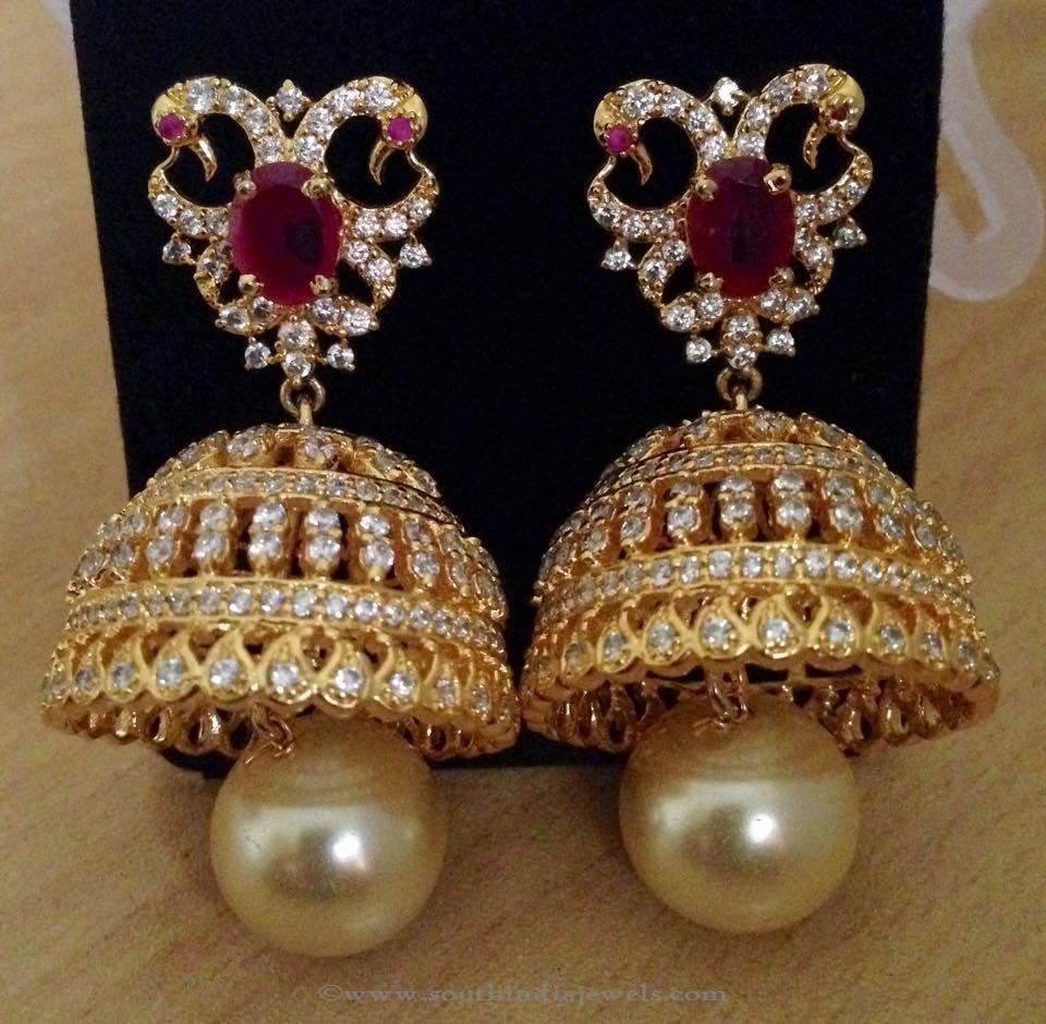One Gram Gold Bridal Jhumka From Swarnakshi