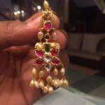 Gold Ruby Pearl Earrings from PSJ