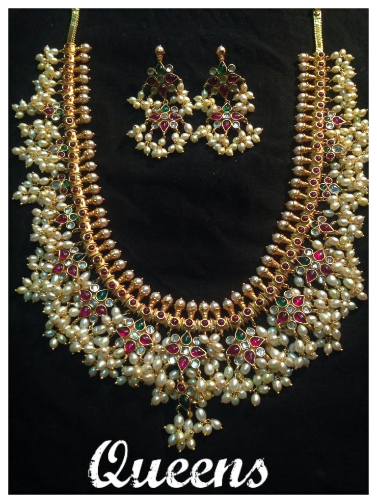 Classic Guttapusalu Necklace with Earrings