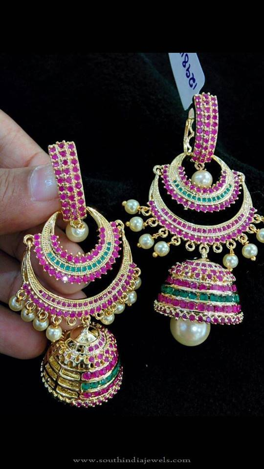 Designer Ruby Emerald Jhumka from Vanathi
