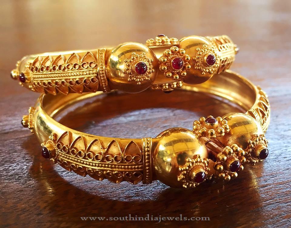 Gold Antique Ruby Kada From Manubhai