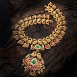 Gold Antique Ruby Peacock Necklace