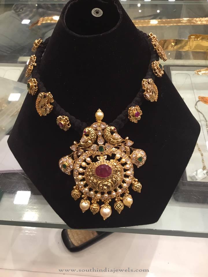 Gold Black Thread Antique Peacock Necklace