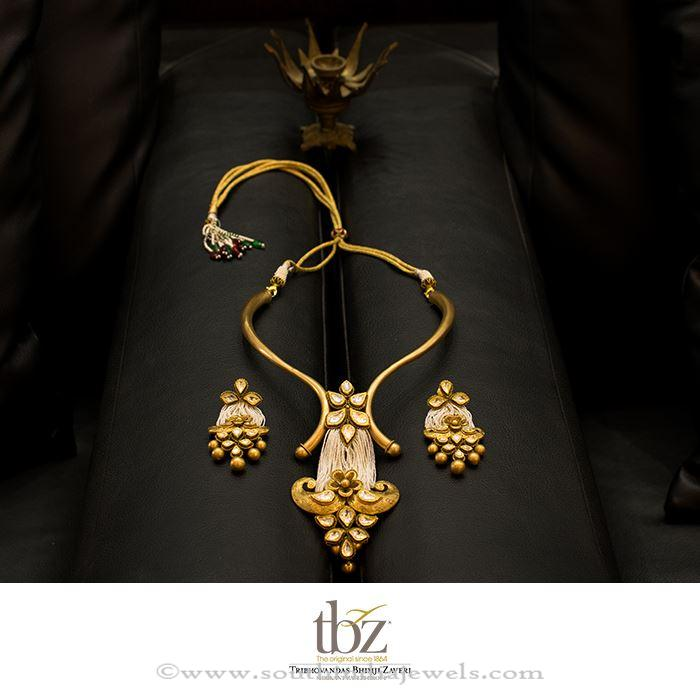 Gold Designer Necklace Set from TBZ South India Jewels