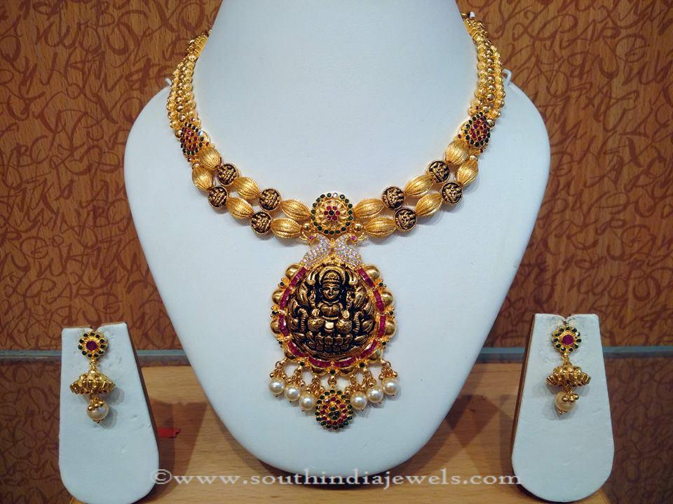 Gold Double Layer Nakshi Work Necklace