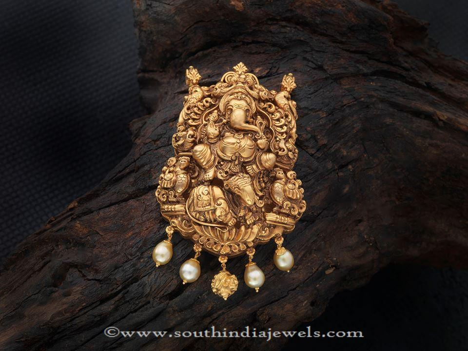 Gold Ganapathy Pendant From Creations Jewellery