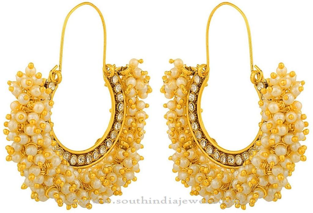 Gold Plated Pearl Hoop Earrings