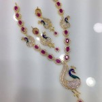 Gold Plated Ruby Peacock Necklace from Swarnakshi