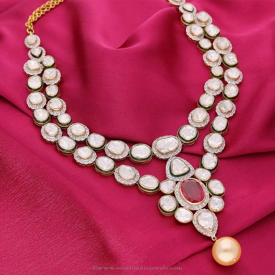 Manubhai Jeweller's Polki Diamond Necklace