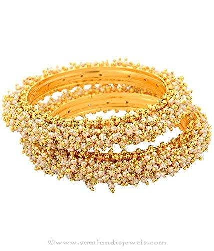 One Gram Gold Pearl Cluster Bangles