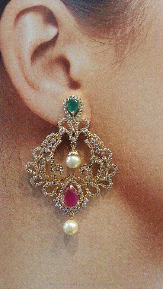 Ruby Emerald Earrings from Brundavan Jewellery