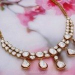 Gold White Stone Necklace From Manubhai