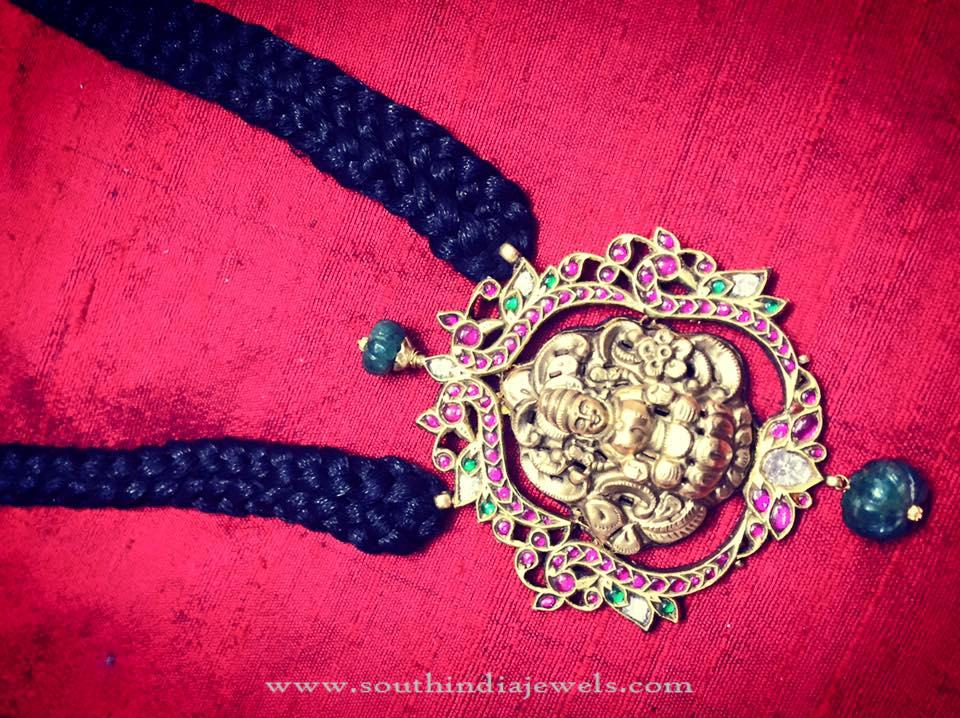 Black Thread Necklace with Temple Pendant