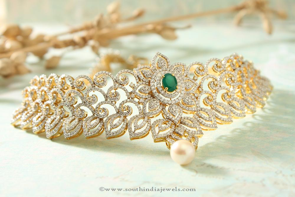 Bridal Diamond Choker with Emerald from Manubhai