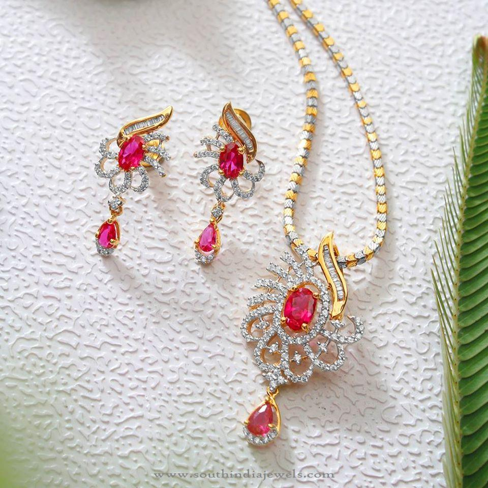 CZ Stone Pendant and Earrings