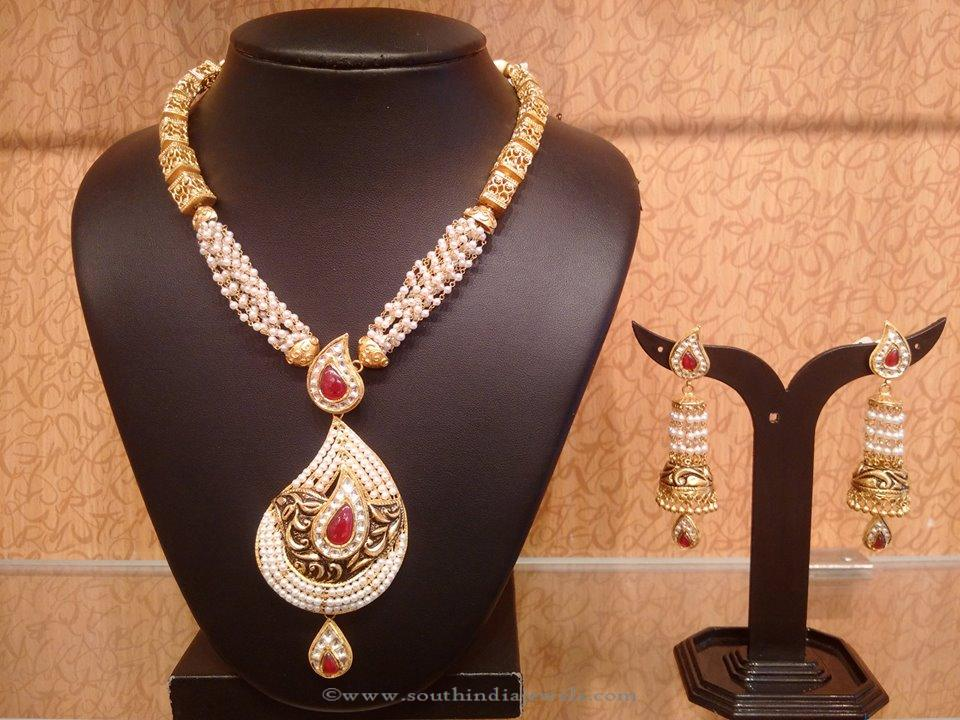 Designer Pearl Necklace with Jhumkas