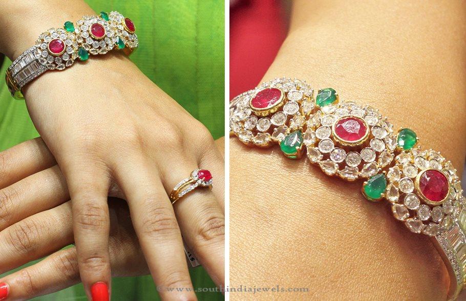 Diamond Bangleswith Rubies and Emeralds