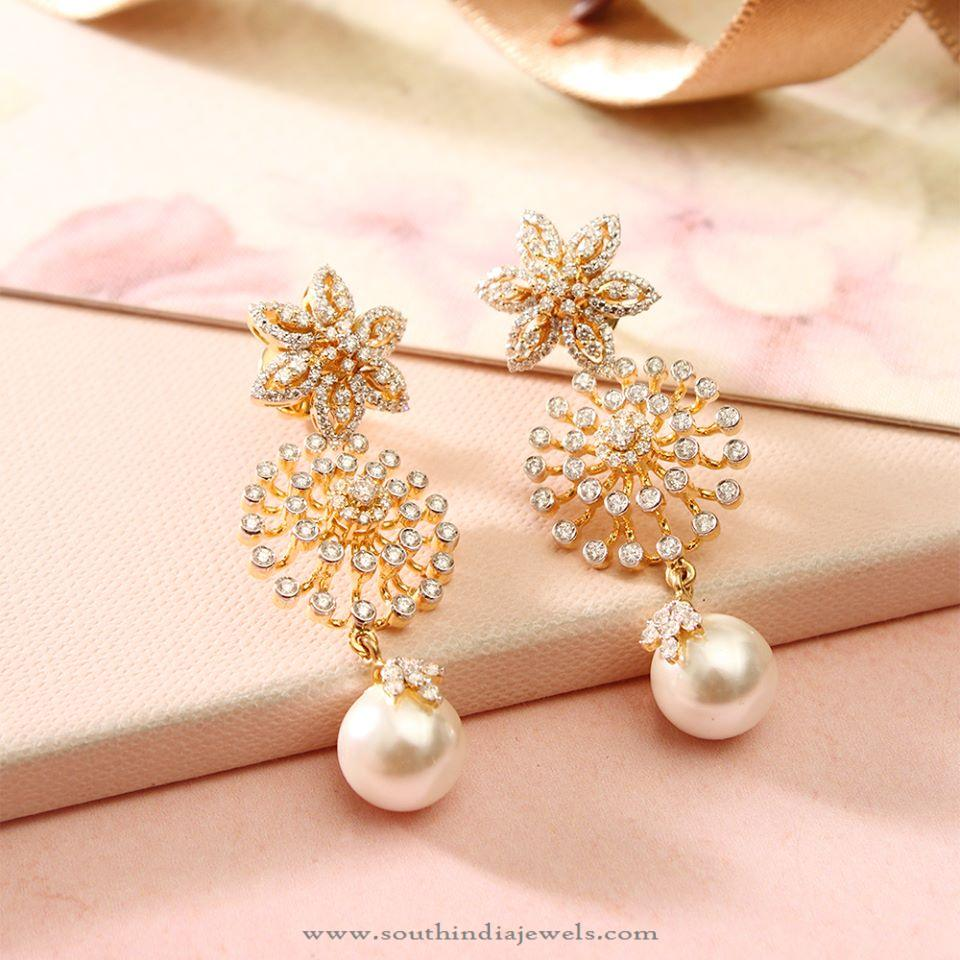 Diamond Fancy Earrings with Pearls from Manubhai