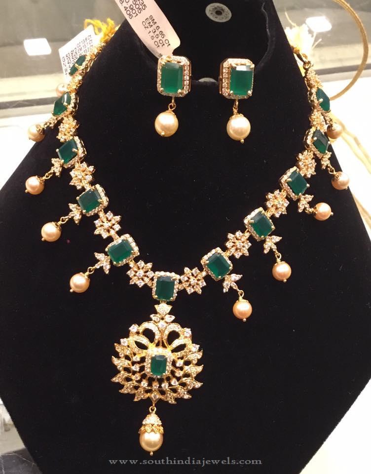 Gold CZ Emerald Necklace Set
