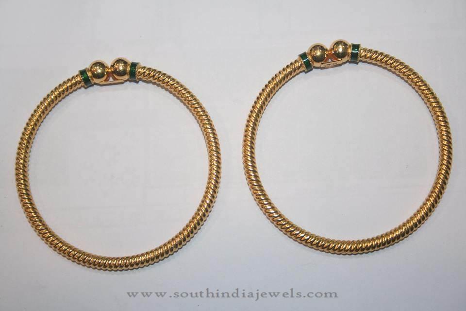 Gold Simple Daily Wear Bangles from Prakurthi