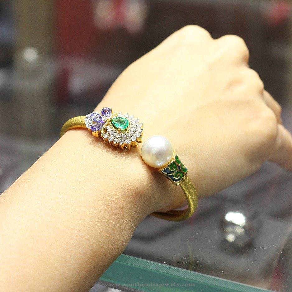 Gold Designer Bracelet with Pearls from Manubhai