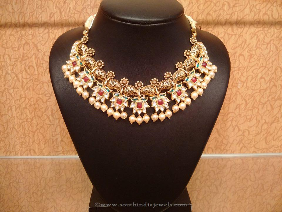 Gold Designer Kundan Necklace From NAJ