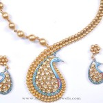 Gold Designer Peacock Necklace from Karpagam Jewellers