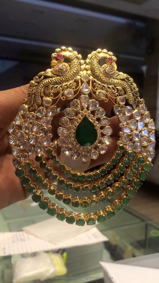Gold Peacock Polki Pendant from PSJ