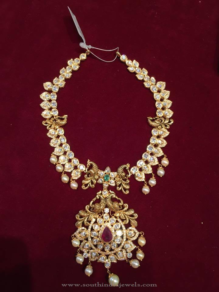 Gold Peacock Short Necklace Sets