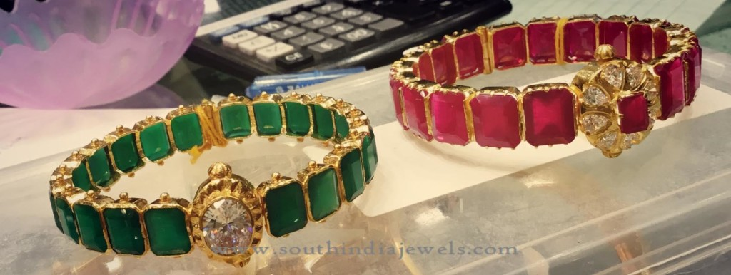 30 Grams Gold Ruby Emerald Bangle