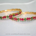 Gold Ruby Emerald Bangle from Prakruthi