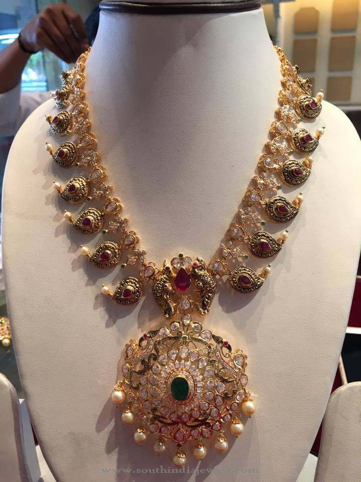 Gold Stone Mango Necklace Sets