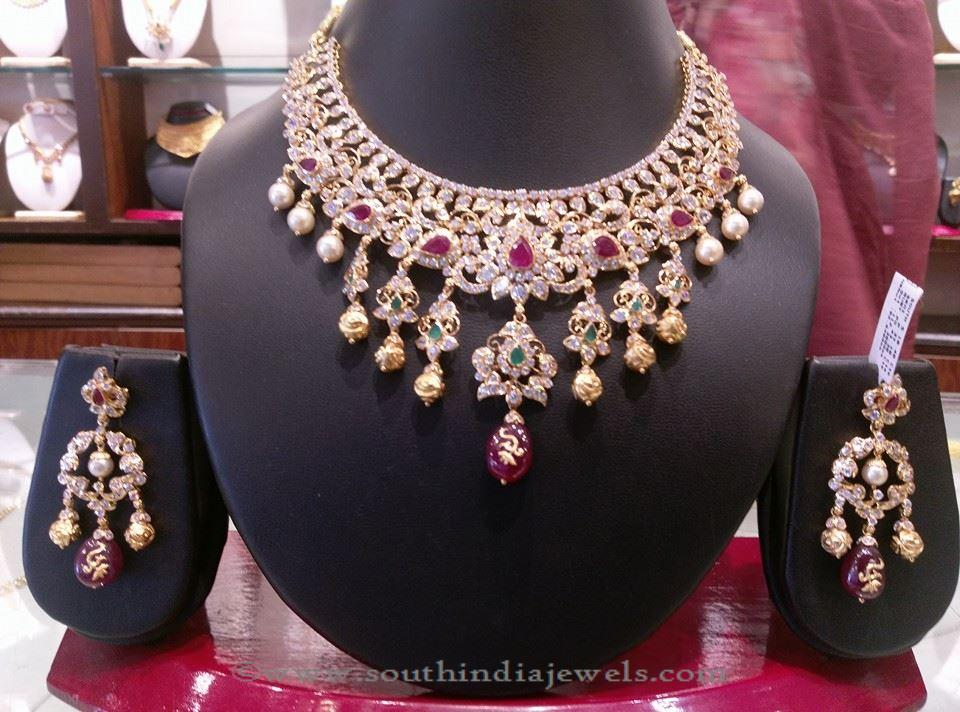 Gold Stone Necklace set from Manchu Konda Shyam Zaveri