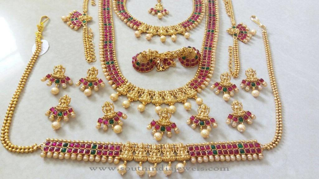 Imitation Ruby Emerald Bridal Jewellery Sets