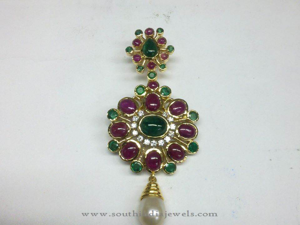 Diamond Pendant with Rubies and Emeralds