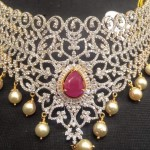 Diamond Choker With Pearls and Rubies