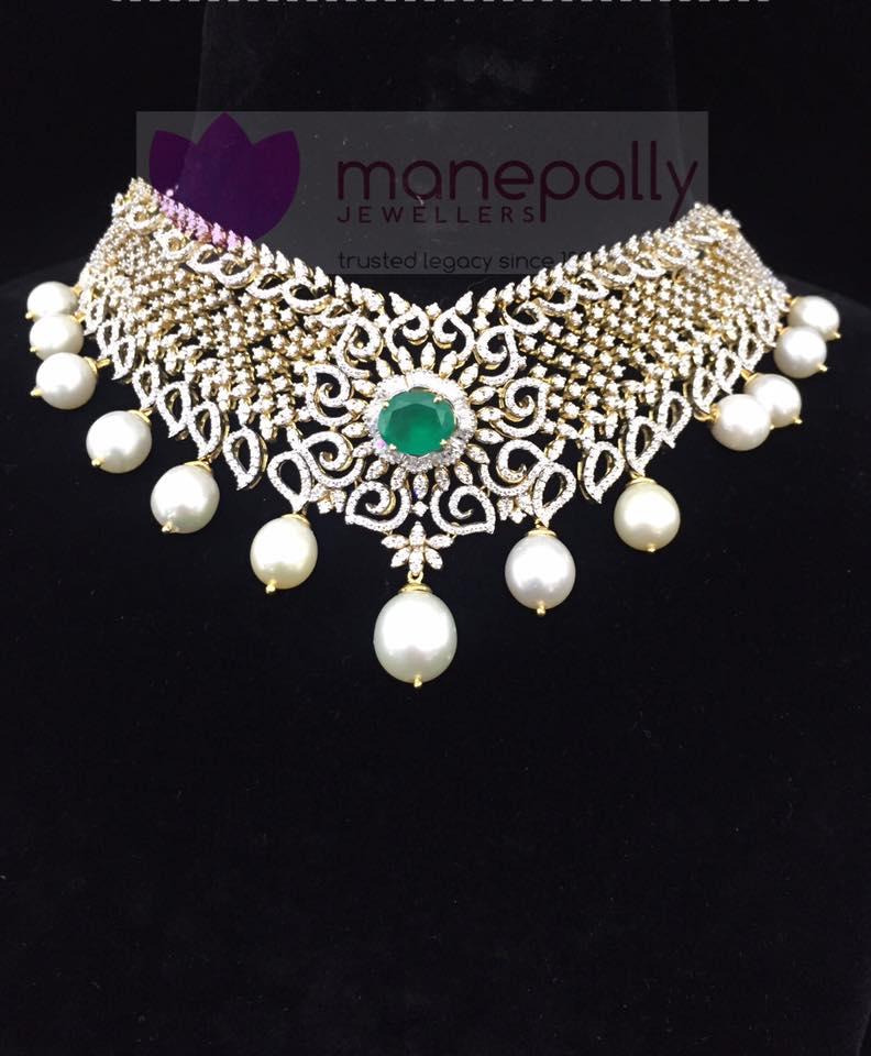 Diamond Emerald Choker Necklace from Manepally Jewellery
