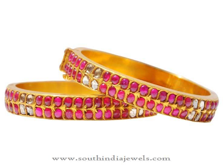 Diamond Ruby Bangle From Karni Jewellers
