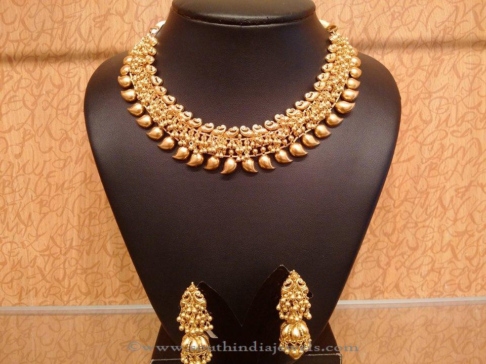 Gold Light Weight Mango Choker with Jhumka