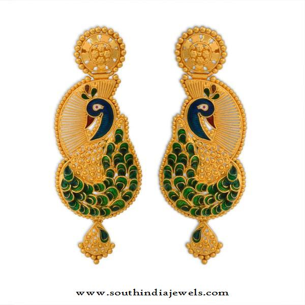Gold Peacock Earrings from WHPS