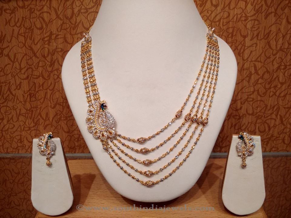 Gold Peacock Necklace Set with Earrings from Naj