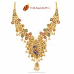 Gold Bridal Peacock Necklace from Thangamayil