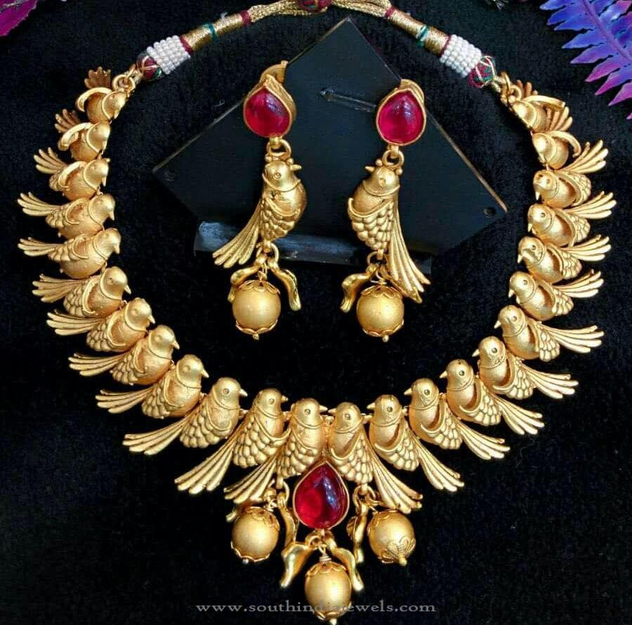 Gold Plated Designer Peacock Necklace