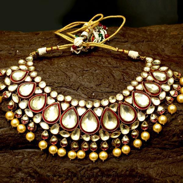Gold Plated Bridal Kundan Choker from Aatman