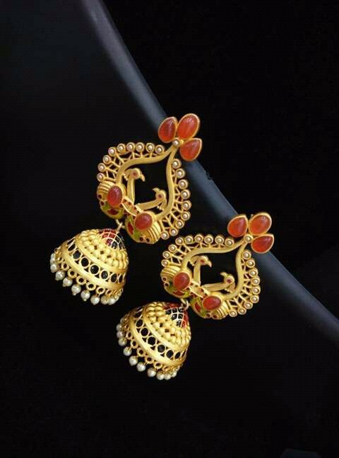 Gold Plated Coral Jhumkas From Temple Collections