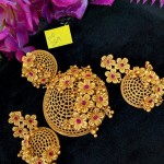 Gold Plated Floral Designer Pendant Set
